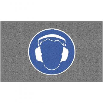 """m2-Logomatte Medium """"Gehörschutz benutzen"""" Querformat 90x150cm"""