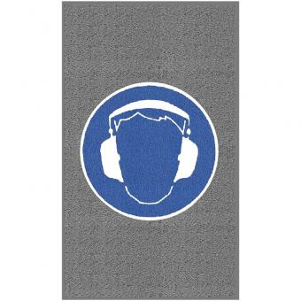 """m2-Logomatte Medium """"Gehörschutz benutzen"""" Hochformat 90x150cm"""