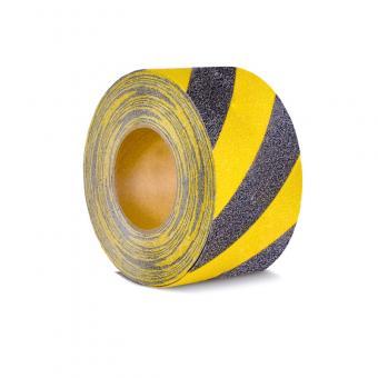 m2-Antirutschbelag Warnmarkierung schwarz/gelb Rolle 75mm x 18,3m