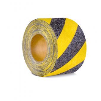 m2-Antirutschbelag Warnmarkierung schwarz/gelb Rolle 100mm x 18,3m