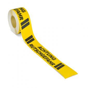 m2-Antirutschbelag Warnmarkierung schwarz/gelb mit Text (Rolle) Achtung Rutschgefahr Rolle 75mm x 18,3m