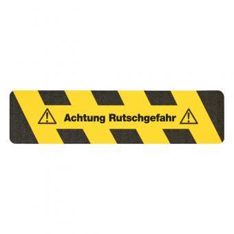 m2-Antirutschbelag Warnmarkierung schwarz/gelb mit Text (Streifen) Achtung Rutschgefahr Streifen 150x610mm