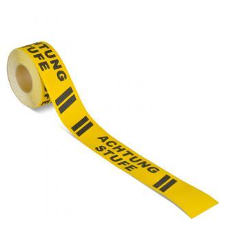 m2-Antirutschbelag Warnmarkierung schwarz/gelb mit Text (Rolle) Achtung Stufe Rolle 75mm x 18,3m