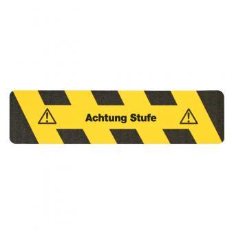 m2-Antirutschbelag Warnmarkierung schwarz/gelb mit Text (Streifen) Achtung Stufe Streifen 150x610mm
