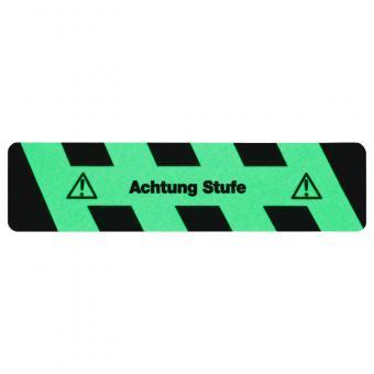 m2-Antirutschbelag Nachleuchtend SG mit Text Achtung Stufe Streifen 150x610mm
