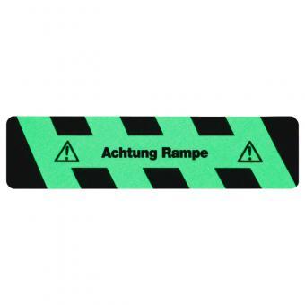 m2-Antirutschbelag Nachleuchtend SG mit Text Achtung Rampe Streifen 150x610mm