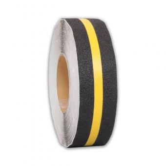 m2-Antirutschbelag Multifunktionsbelag schwarz mit Streifen gelb Rolle 50mm x 18,3m