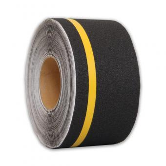 m2-Antirutschbelag Multifunktionsbelag schwarz mit Streifen gelb Rolle 100mm x 18,3m