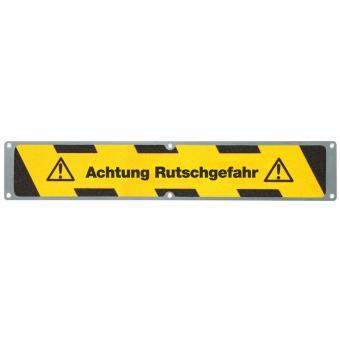 Antirutschplatte Aluminium Warnmarkierung mit Text Achtung Rutschgefahr 114x635mm