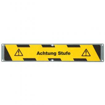 Antirutschplatte Aluminium Warnmarkierung mit Text Achtung Stufe 114x635mm
