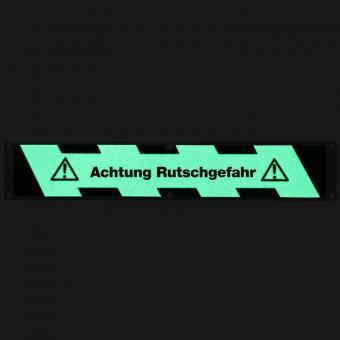 Antirutschplatte Aluminium Nachleuchtend mit Text Achtung Rutschgefahr 114x635mm