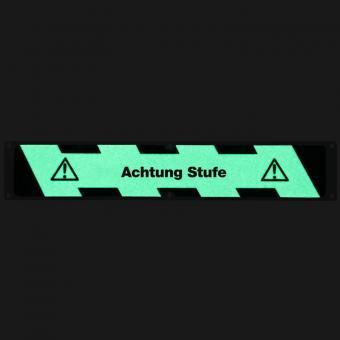 Antirutschplatte Aluminium Nachleuchtend mit Text Achtung Stufe 114x635mm