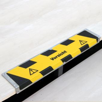 Antirutschkantenprofil Aluminium Warnmarkierung mit Text Vorsicht 120x635x45mm
