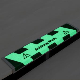 Antirutschkantenprofil Aluminium Nachleuchtend mit Text Achtung Stufe 120x635x45mm
