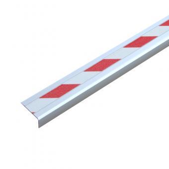 Antirutschtreppenkantenprofil Aluminium Warnmarkierung, schraubbar rot/weiß 53x610x31mm