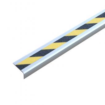 Antirutschtreppenkantenprofil Aluminium Easy Clean, schraubbar schwarz/gelb 53x610x31mm