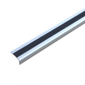Antirutschtreppenkantenprofil Aluminium Easy Clean, selbstklebend schwarz 53x610x31mm