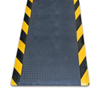 m2-Antiermüdungsmatte mit Riffelblechoptik schwarz mit Rand schwarz/gelb