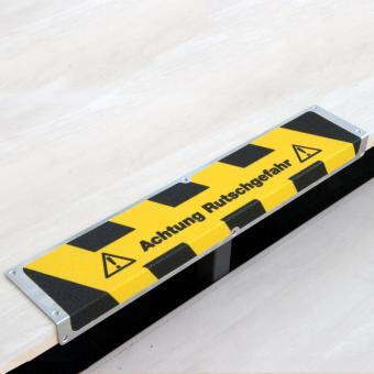 Antirutschkantenprofil Aluminium Warnmarkierung mit Text